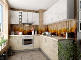 Готова ъглова кухня МДФ с цял термоплот Елит 16