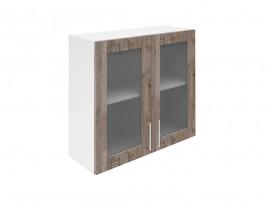 Горен шкаф за кухни с две витринни врати Хит М21 Дъб алатри 80 см.