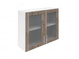 Горен шкаф за кухни с две витринни врати Хит М21 Дъб алатри 90 см.