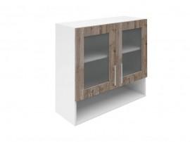 Горен шкаф за кухни с две витрини и ниша Хит М23 Дъб алатри 80 см.