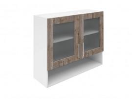 Горен шкаф за кухни с две витрини и ниша Хит М23 Дъб алатри 90 см.