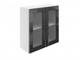Горен шкаф за кухни с две витринни врати МДФ Елит М21 Антрацид гланц 70 см.