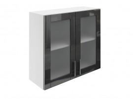Горен шкаф за кухни с две витринни врати МДФ Елит М21 Антрацид гланц 80 см.