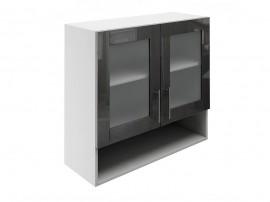 Горен шкаф за кухни с две витрини и ниша МДФ Елит М23 Антрацид гланц 80 см.