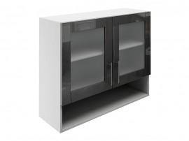 Горен шкаф за кухни с две витрини и ниша МДФ Елит М23 Антрацид гланц 90 см.