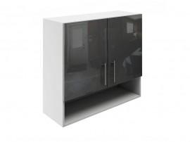 Горен шкаф за кухни с две врати и ниша МДФ Елит М22 Антрацид гланц 80 см.