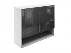 Горен шкаф за кухни с две врати и ниша МДФ Елит М22 Антрацид гланц 90 см.