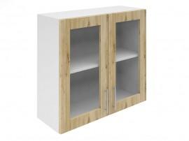Горен шкаф за кухни с две витринни врати Хит М21 Артизан светъл 80 см.