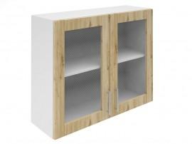 Горен шкаф за кухни с две витринни врати Хит М21 Артизан светъл 90 см.