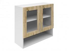 Горен шкаф за кухни с две витрини и ниша Хит М23 Артизан светъл 80 см.
