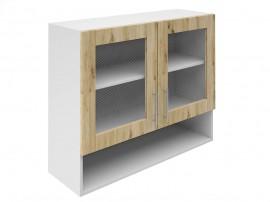 Горен шкаф за кухни с две витрини и ниша Хит М23 Артизан светъл 90 см.