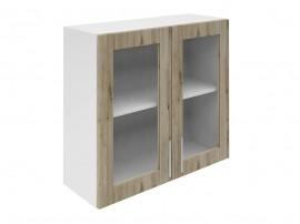 Горен шкаф за кухни с две витринни врати Хит М21 Артизан тъмен 80 см.