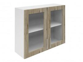 Горен шкаф за кухни с две витринни врати Хит М21 Артизан тъмен 90 см.
