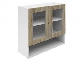 Горен шкаф за кухни с две витрини и ниша Хит М23 Артизан тъмен 80 см.