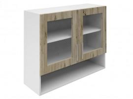 Горен шкаф за кухни с две витрини и ниша Хит М23 Артизан тъмен 90 см.