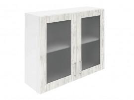 Горен шкаф за кухни с две витринни врати Хит М21  Бор сестола 90 см.