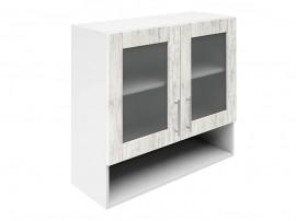 Горен шкаф за кухни с две витрини и ниша Хит М23  Бор сестола 80 см.
