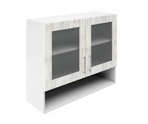 Горен шкаф за кухни с две витрини и ниша Хит М23 Бор сестола 90 см.