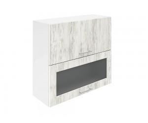 Горен шкаф за кухни с хоризонтални клапващи врати и витрина Хит М24 Бор сестола 80 см.