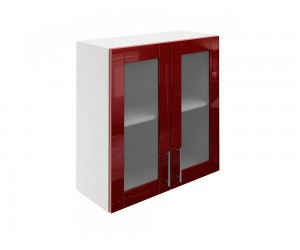 Горен шкаф за кухни с две витринни врати МДФ Елит М21 Бордо гланц 70 см.