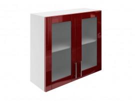 Горен шкаф за кухни с две витринни врати МДФ Елит М21 Бордо гланц 80 см.