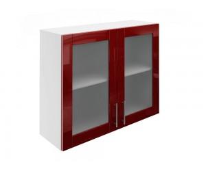 Горен шкаф за кухни с две витринни врати МДФ Елит М21 Бордо гланц 90 см.