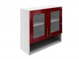 Горен шкаф за кухни с две витрини и ниша МДФ Елит М23 Бордо гланц 80 см.