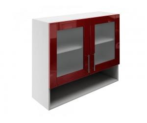 Горен шкаф за кухни с две витрини и ниша МДФ Елит М23 Бордо гланц 90 см.