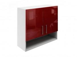 Горен шкаф за кухни с две врати и ниша МДФ Елит М22 Бордо гланц 80 см.