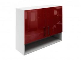Горен шкаф за кухни с две врати и ниша МДФ Елит М22 Бордо гланц 90 см.