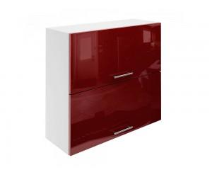 Горен шкаф за кухни с хоризонтални клапващи врати МДФ Елит М25 Бордо гланц 80 см.