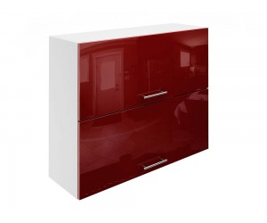 Горен шкаф за кухни с хоризонтални клапващи врати МДФ Елит М25 Бордо гланц 90 см.