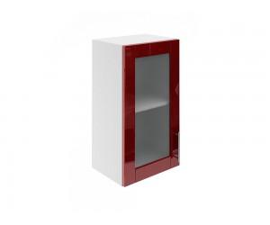 Горен шкаф за кухни с една витринна врата МДФ Елит М17 Бордо гланц 40 см.