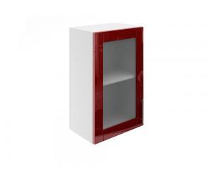 Горен шкаф за кухни с една витринна врата МДФ Елит М17 Бордо гланц 45 см.