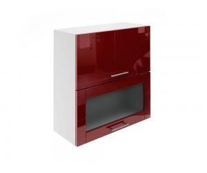 Горен шкаф за кухни с хоризонтални клапващи врати и витрина МДФ Елит М24 Бордо гланц 70 см.