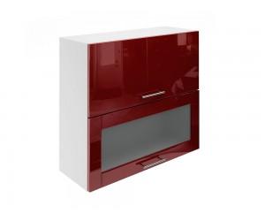 Горен шкаф за кухни с хоризонтални клапващи врати и витрина МДФ Елит М24 Бордо гланц 80 см.