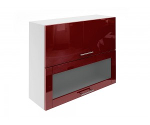 Горен шкаф за кухни с хоризонтални клапващи врати и витрина МДФ Елит М24 Бордо гланц 90 см.