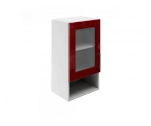 Горен шкаф за кухни с една витрина и ниша МДФ Елит М19 Бордо гланц 40 см.