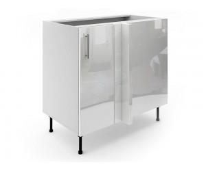 Долен ъглов шкаф за кухни МДФ Елит М7 Бяло гланц 90 см.