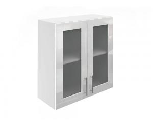 Горен шкаф за кухни с две витринни врати МДФ Елит М21 Бяло гланц 70 см.