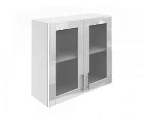 Горен шкаф за кухни с две витринни врати МДФ Елит М21 Бяло гланц 80 см.