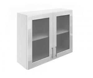 Горен шкаф за кухни с две витринни врати МДФ Елит М21 Бяло гланц 90 см.