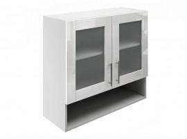 Горен шкаф за кухни с две витрини и ниша МДФ Елит М23 Бяло гланц 80 см.