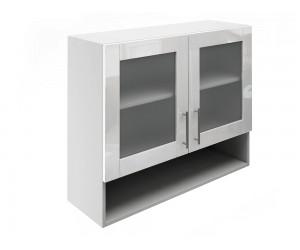 Горен шкаф за кухни с две витрини и ниша МДФ Елит М23 Бяло гланц 90 см.