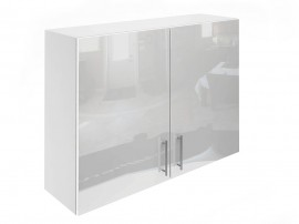 Горен шкаф за кухни с две врати МДФ Елит М20 Бяло гланц 100 см.