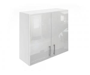 Горен шкаф за кухни с две врати МДФ Елит М20 Бяло гланц 80 см.