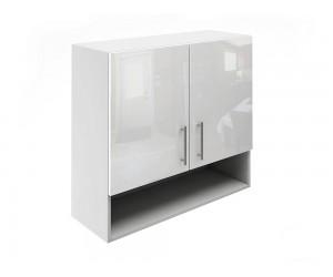 Горен шкаф за кухни с две врати и ниша МДФ Елит М22 Бяло гланц 80 см.