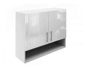 Горен шкаф за кухни с две врати и ниша МДФ Елит М22 Бяло гланц 90 см.