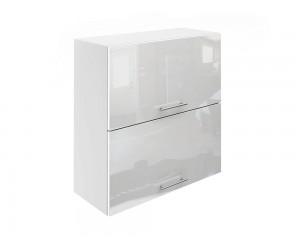 Горен шкаф за кухни с хоризонтални клапващи врати МДФ Елит М25 Бяло гланц 70 см.