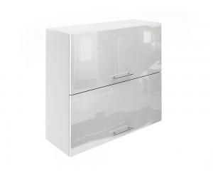 Горен шкаф за кухни с хоризонтални клапващи врати МДФ Елит М25 Бяло гланц 80 см.
